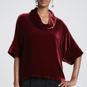 Eileen Fisher Cranberry Cowl Neck Velvet Blouse